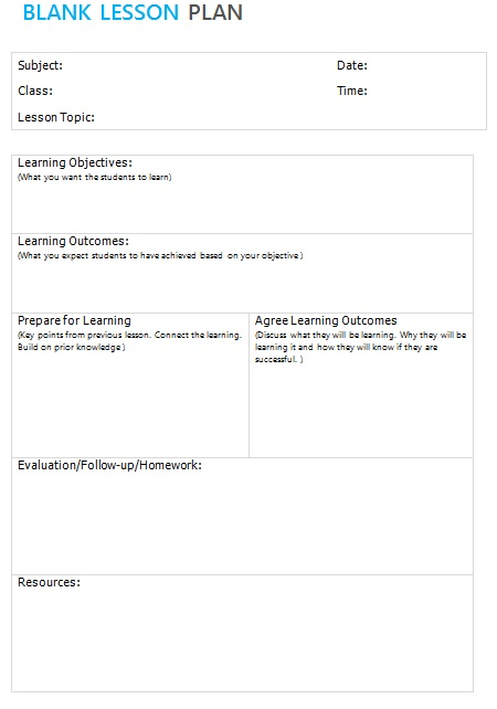 lesson plan sample