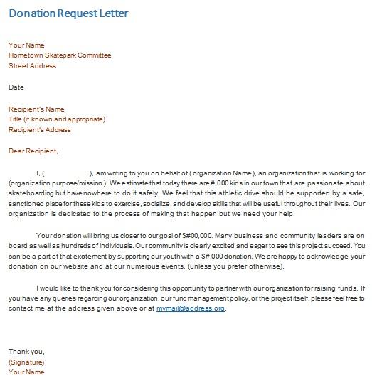 fundraising letter format