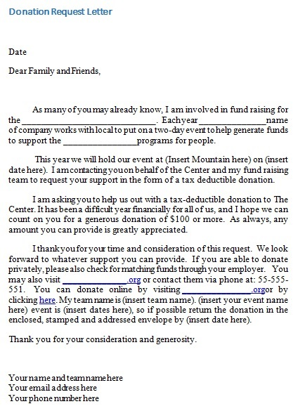 donation request email template
