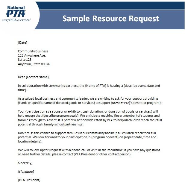 pta donation request letter template