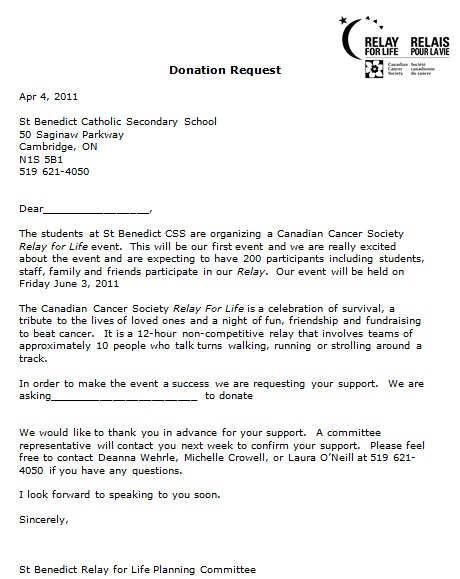simple donation letter sample