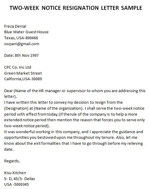 employment resignation letter