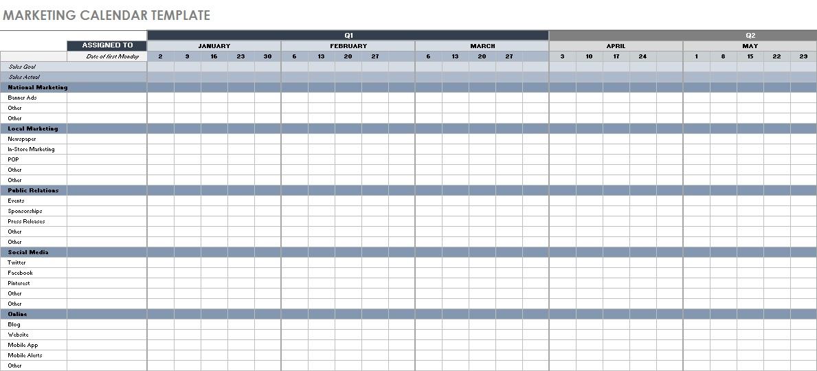 digital content calendar