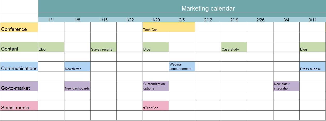 free marketing calendar