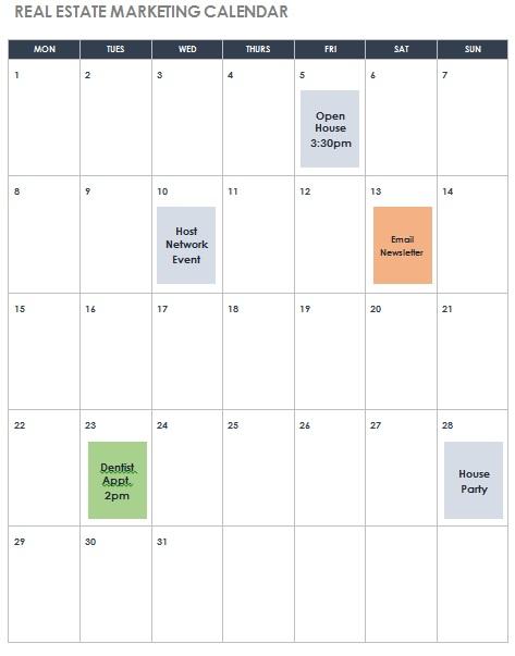 free marketing calendar template
