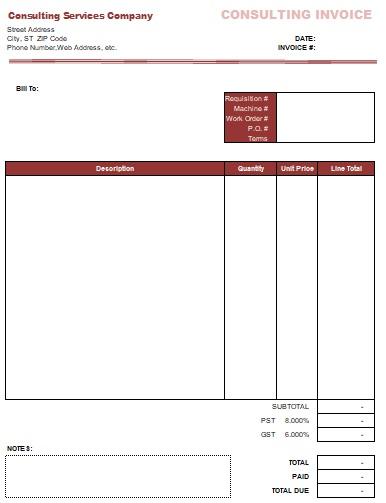 premium consulting service invoice template