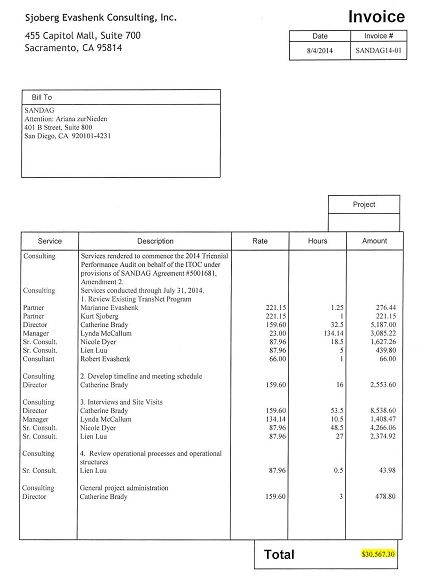 consultancy invoice sample
