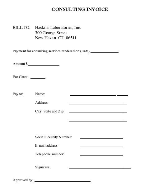 tax consultant bill format