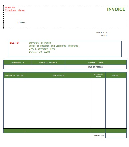 consulting service invoices
