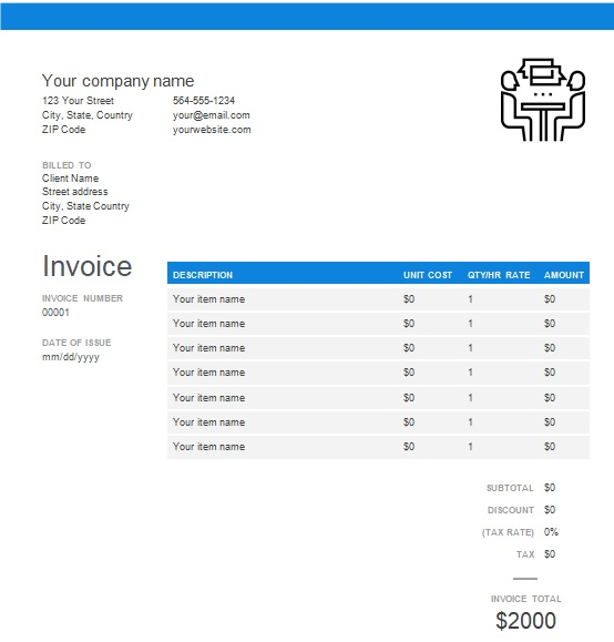 consulting invoice