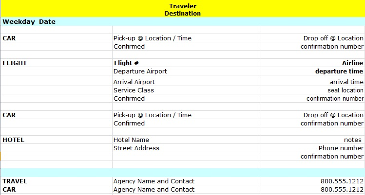 holiday itinerary template