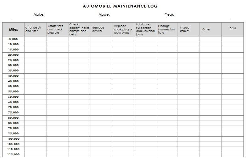 car log book template