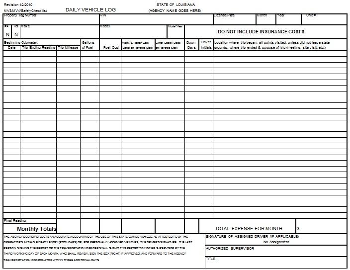 car log book format