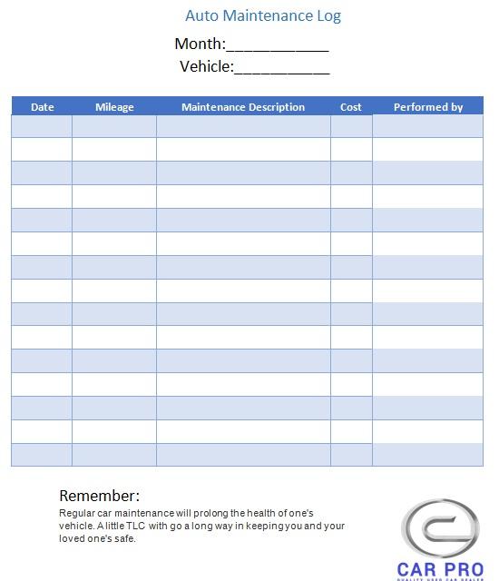 company vehicle log book