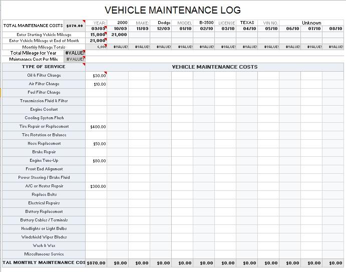 vehicle log sheet