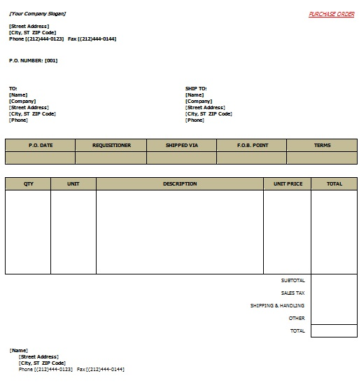 free printable purchase order