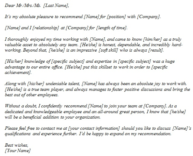 sample recommendation letter for student