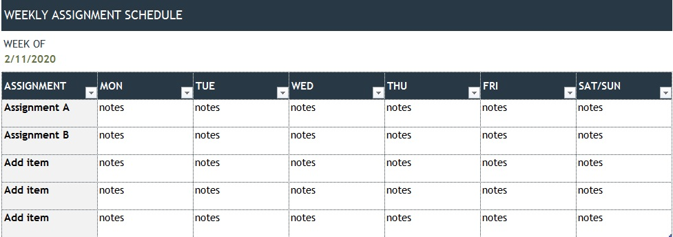 study timetable template for students