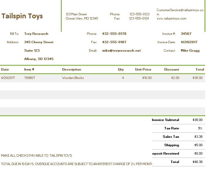 sales invoice tracker excel