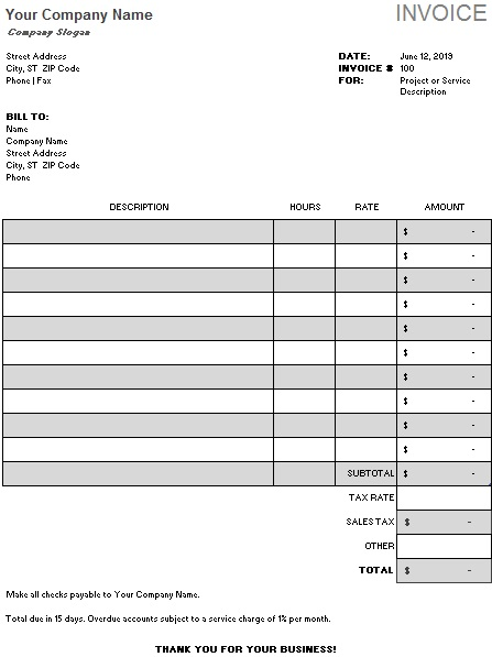 cash sales invoice template