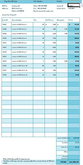 sales bill format