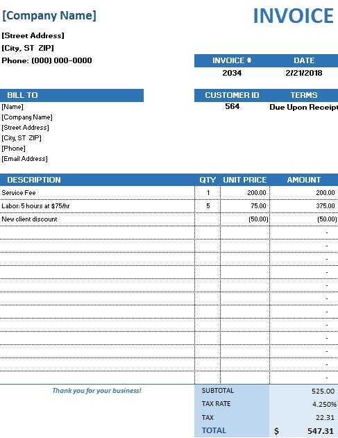 sales invoice template free