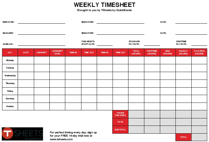 weekly time sheets free printable