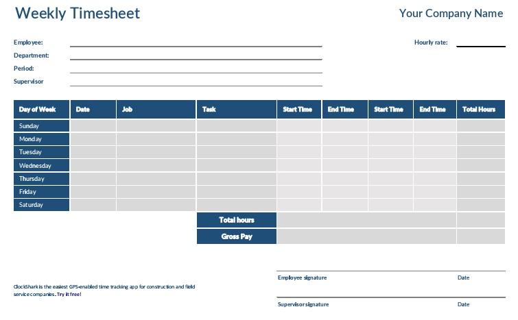 weekly timesheet template pdf
