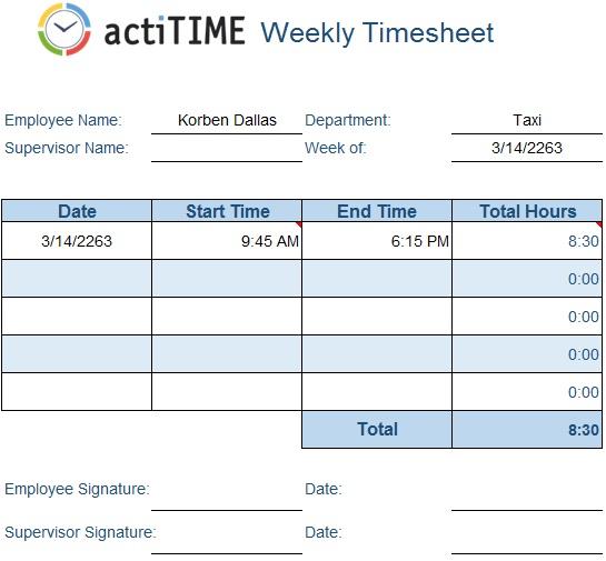 weekly timesheet template