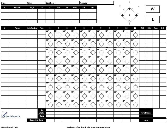 softball scoring sheet