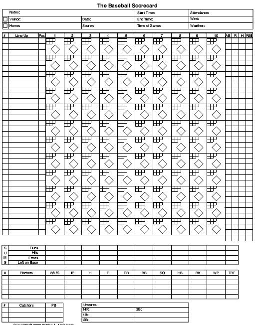 free baseball score sheet