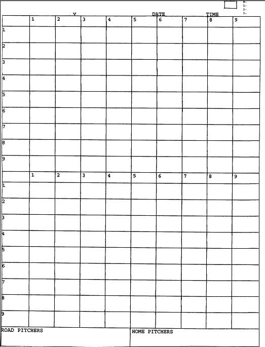 baseball score keeping sheet