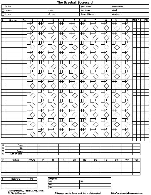 baseball score sheet printable