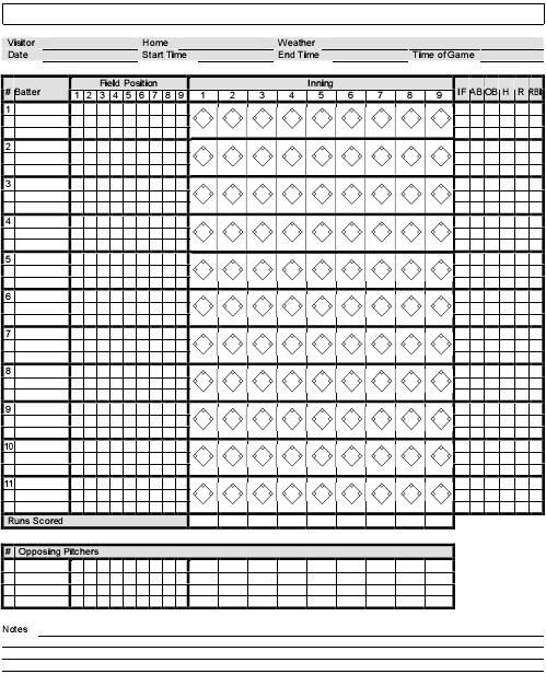 simple baseball score sheet