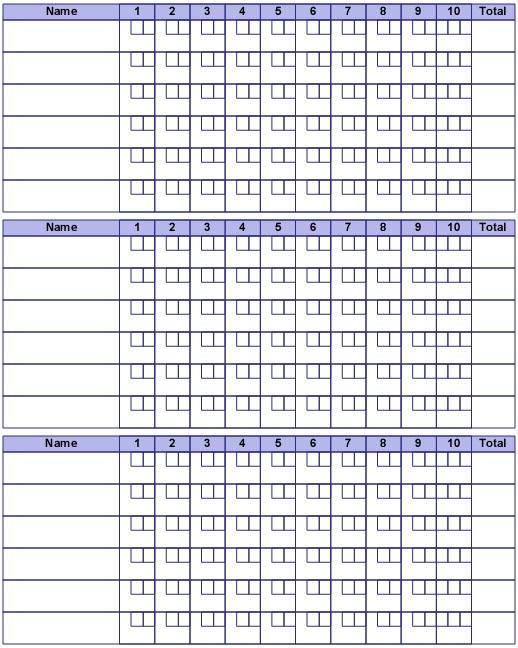 bowling score sheet filled out