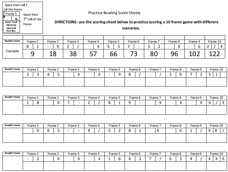 Bowling Score Sheet Calculator Free [Excel, Word, PDF]