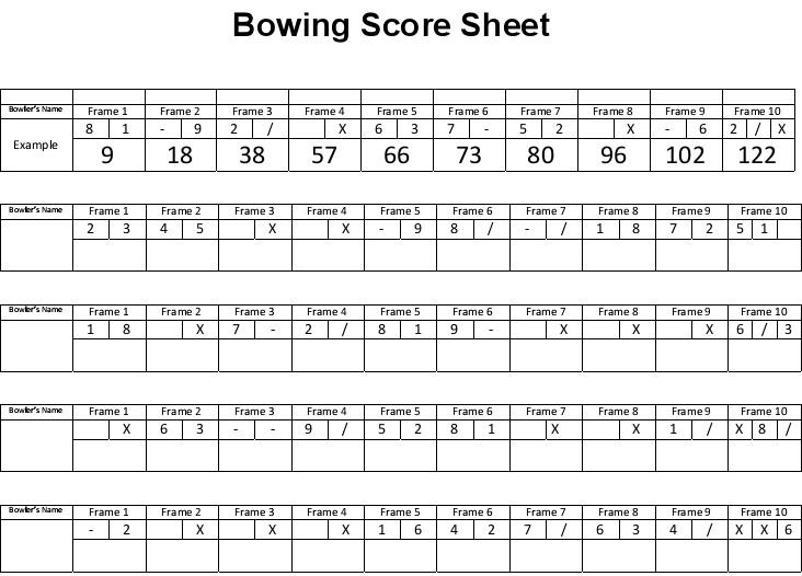 bowling score sheet microsoft excel