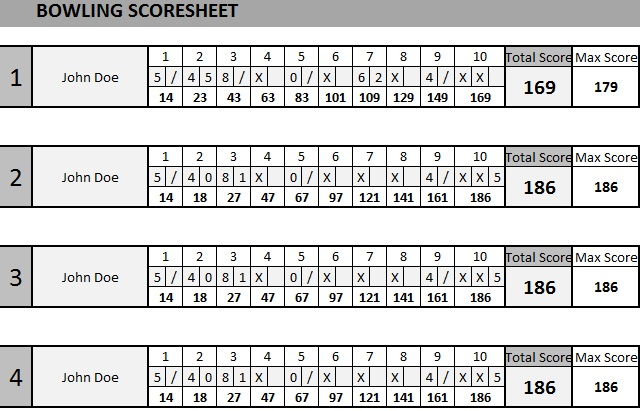 bowling score sheet samples