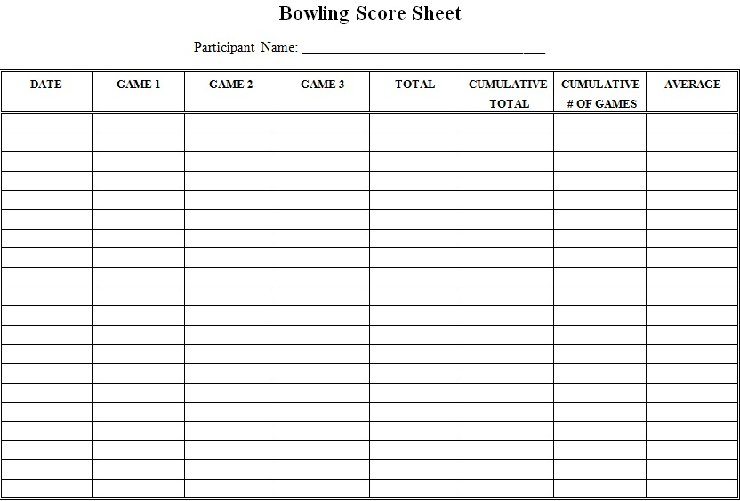 bowling score cards
