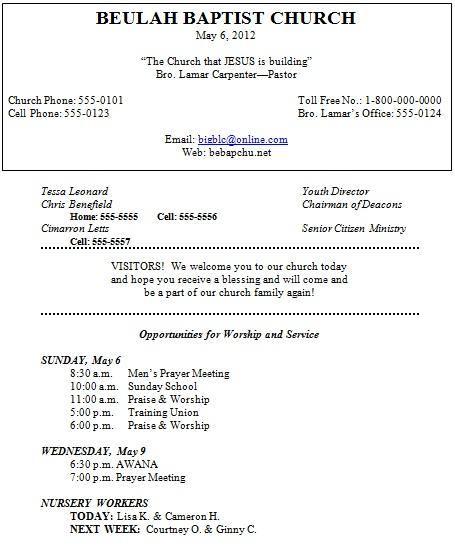 church program template doc