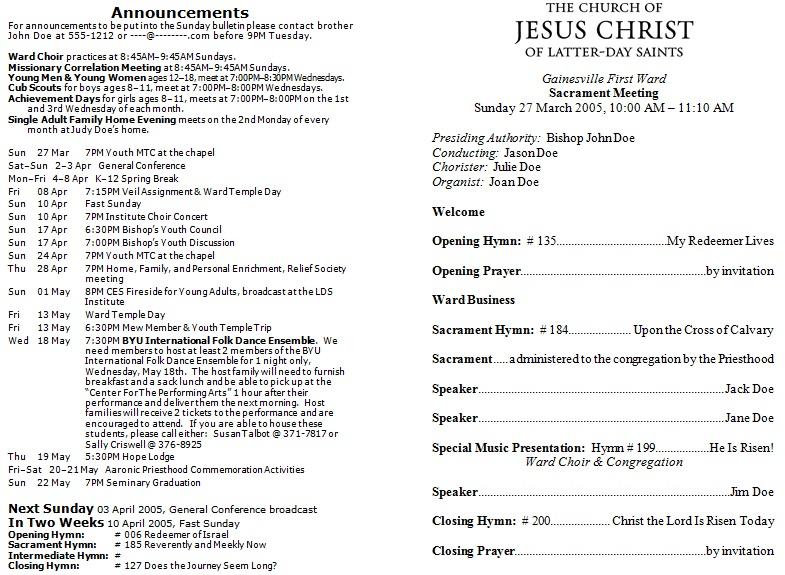 catholic mass program template