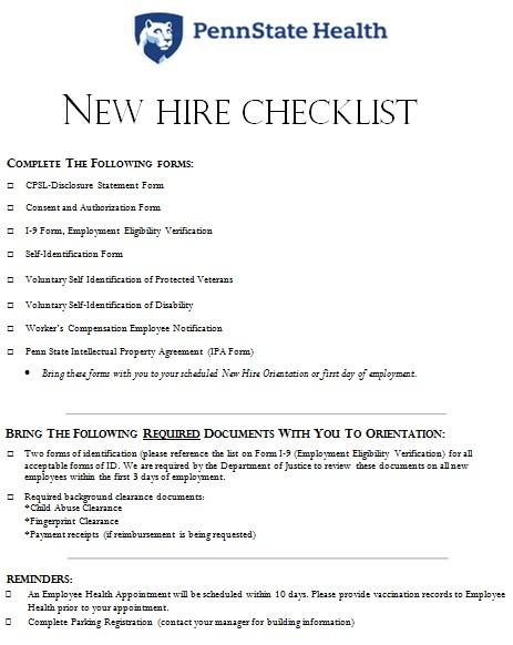 sample new employee onboarding checklist