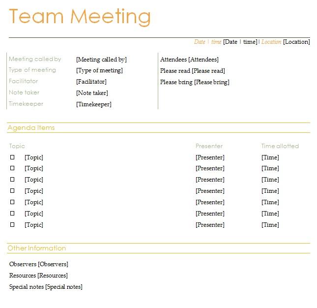 agenda items example