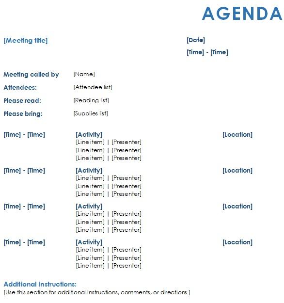 agenda writing examples