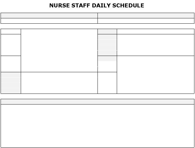 nursing schedules