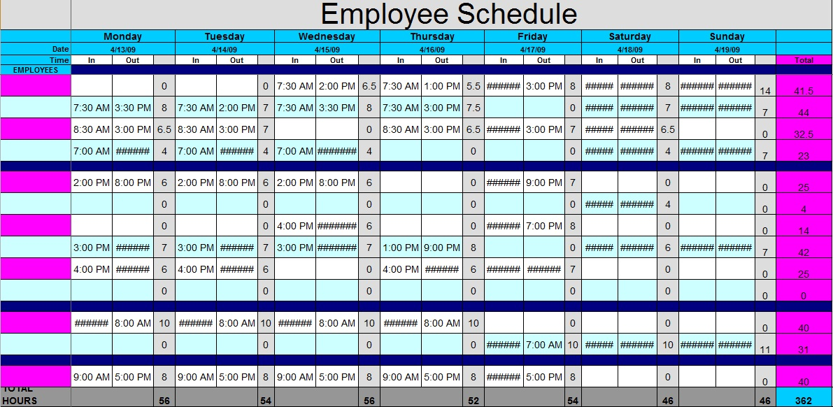 registered nurse work schedule