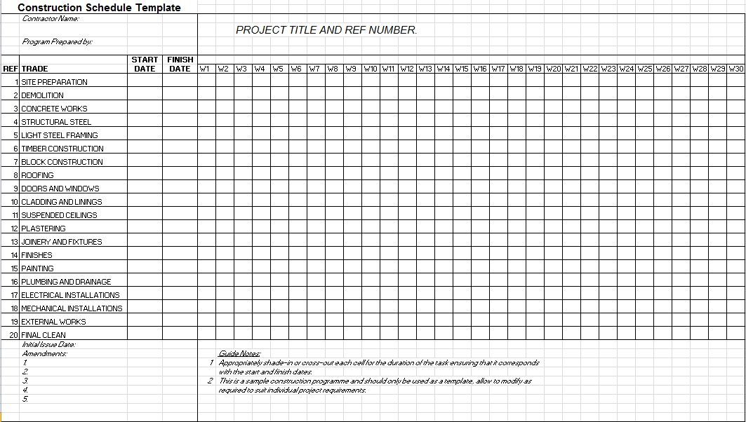 residential construction schedule template excel free