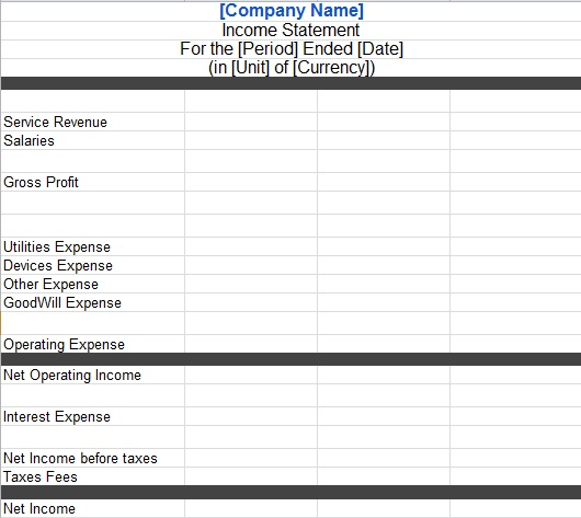 income statement format excel
