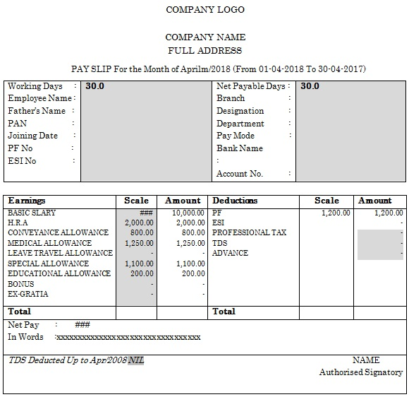 company salary slip template