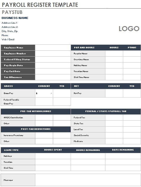 payroll register template